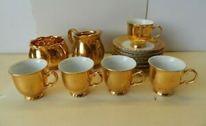 Vintage TK Thun Czechoslovakian/Royal Winton Gold Gilt Tea Set