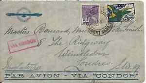 Postal History, Aviation, Condor Mail, complete envelope, Brasil to London, 1936