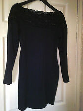 LADIES BLACK DRESS  STRETCHY MATERIAL SIZE 12