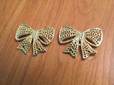 "VTG Filigree Gold Tone Bow Ribbon Shoe Clips 1.75"" Classic Chic Beautiful"
