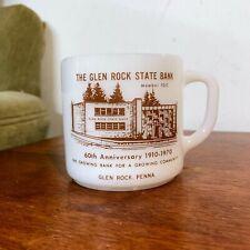 Vintage Federal Glass Milk Glass Mug Glen Rock State Bank 60th Anniversary PA