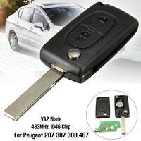 2 Boutons Clé Télécommande 433MHz Transpondeur ID46 pour Peugeot 207 307 308
