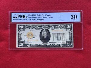 FR-2402 1928 Series $20 Twenty Dollar Gold Certificate *PMG 30 Very Fine*