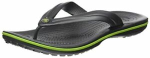 Crocs Women's Crocband Flip Flop | Slip-on, Graphite/Volt Green, Size 12.0 zIhp