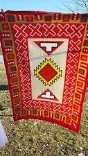 "Vintage Lap Blanket Aztec Pattern Red Yellow 34"" x 50"""