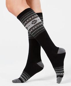 Womens Fair Isle Holiday Knee High Socks Black 1 Pair CHARTER CLUB - NWT