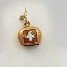 18K Rose Gold Switzerland Swiss Cross Flag Chiming Cow Bell Charm Pendant 2.2gr