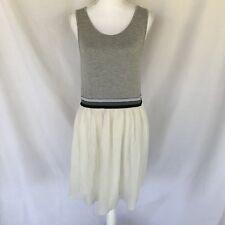 Topshop Gray And White Sleeveless Midi Dress Size 10