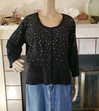 Lane Bryant Snug Fit Cardigan Size 22/24 Black Sequin 3/4 Sleeves Rockabilly