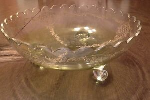 Antique Victorian Bowl. Yellow. Embossed. Applied Scroll Feet. Scalloped Rim
