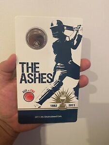 2011 UNCIRCULATED 20c COIN ON CARD - THE ASHES AUS vs ENG 1882-2011