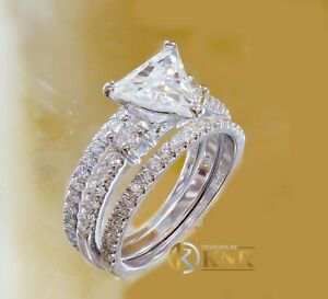 14K WHITE GOLD TRIANGLE AND ROUND NATURAL DIAMOND ENGAGEMENT RING BANDS 2.0CTW