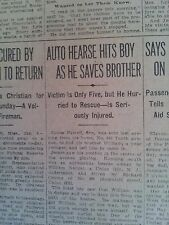 JAN 7, 1914 NEWSPAPER #4421- FUNERAL HEARSE HITS BOY AS HE SAVES HIS BROTHER