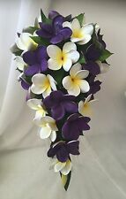 Latex Wedding Bouquet Purple White Yellow Silk Frangipani Package Flowers set
