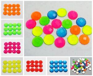 100 Neon Color Flatback Acrylic Round Rhinestone Gems 10mm No Hole Pick Color