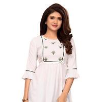 Women Fashion Indian White Embroidery Rayon Kurti Tunic Kurta Top Shirt Dress