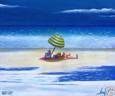 LAZY DAZE  BEACH OCEAN AUSTRALIA ART PRINT SIGNED PAINTING
