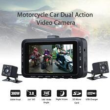 Motorcycle Twin Camera Motorbike Dual Dash Cam Video  Camcorder Waterproof