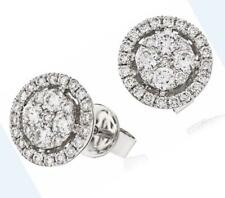 Diamond Halo Earrings: 0.70ct F VS Round Brilliant Cut, set in 18ct White Gold