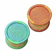 Rajasthan Handmade Cane Bar Stool/Poufs for Indoor/Outdoor Furnishings-2 Pieces