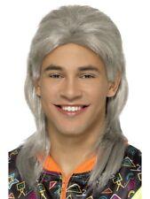 80s Mullet Wig Grey Adult Mens Fancy Dress Accessory
