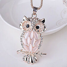 QA_ Cute Womens Jewelry Crystal Rhinestone Owl Pendant Necklace Sweater Chain