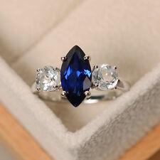 2.00 Ct Marquise Sapphire & Diamond 3-Stone 10K White Gold Engagement Ring