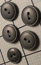 SET OF 5 VINTAGE PEWTER METAL 2-HOLE FLAT SEWING BUTTONS