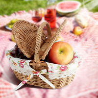 Picnic Basket Willow Wicker Handmade Storage Bag Holder Hamper With Lid