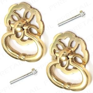 2x Brass Lattice Drop Ring Pull Handle Furniture Drawer Dresser Cupboard Cabinet