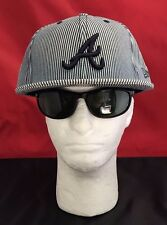 "New Era 59Fifty MLB Atlanta Braves Gray w/Dark Blue Pinstripe With Blue ""A"" Hat"