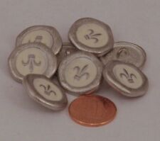 """8 Silver Tone Metal Cream Enamel Fleur De Lis Buttons Almost 13/16"""" 20MM # 5942"""