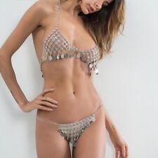 Night Club Metal Chainmail Coins Bikini Bra Sets Brief Body Bikini Chain Jewelry