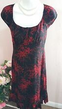 PS Per Sefition Red Floral Black Dress Size M or L WC340