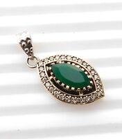 5.10 Gm Two Tone Pendant Stone Emerald Pendant 925 Solid Sterling Silver i-1712