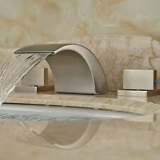 Waterfall Spout Brushed Nickel Bathroom Faucet Tub Sink Mixer Tap Mixer Tap