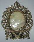 Victorian Picture Photograph FRAME Cast Iron Metal Gold Oval Ornate Easel Back