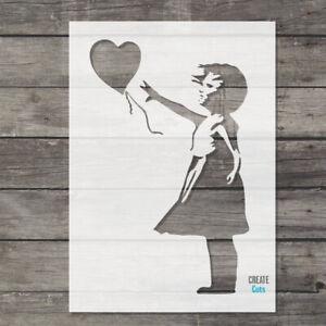 Banksy Girl Heart Balloon reusable STENCIL Graffiti Template Wall Art Painting