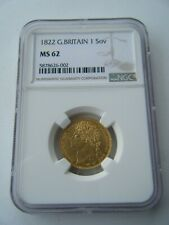 More details for 1822 sovereign king george iv ngc ms62 full gold sovereign coin