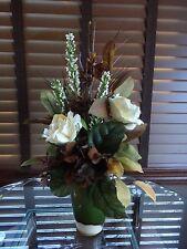 Silk Floral Flower Arrangement Chocolate Brown Hydrangea Cream Roses