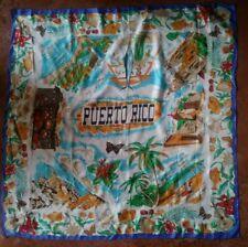 Vintage Puerto Rico Souvenir Rayon/Silk Scarf Made In Japan
