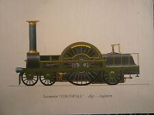Planche gravure publicitaire  locomotive train  : Cornwall 1847 Angleterre