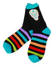 Sugar Skull Black Socks New Knit Crew One Size Fits Most Cotton Halloween Adult