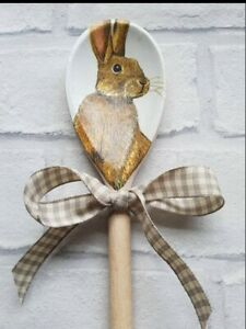 Shabby Chic Rabbit/Hare Themed Wooden Spoon