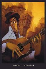 El Guitarrista by Justin Bua Art Print Urban Guitar Poster 24x36