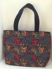 Disney Parks Beautiful Mickey Embroidered Icon Tote Purse Bag Velvet Strap NWT