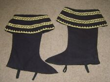 MENS BLACK GOLD FELT BOOT TOPS COVERS BOOTS MEDIEVAL FAIRY TALE FANCY DRESS USED