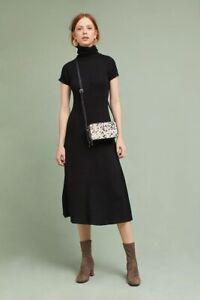 NWT Anthropologie Maeve Sz XL Black Sparkle Ribbed Knit Turtleneck Midi Dress