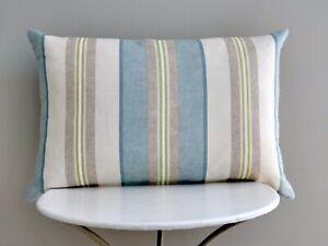 Jane Churchill Designer Cushion Cover Aston Stripe in 'Aqua' Blue 40cm x 60cm