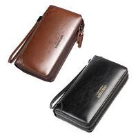 Men Male PU Leather Briefcase Wallet Purse Business Clutch Phone Handbag